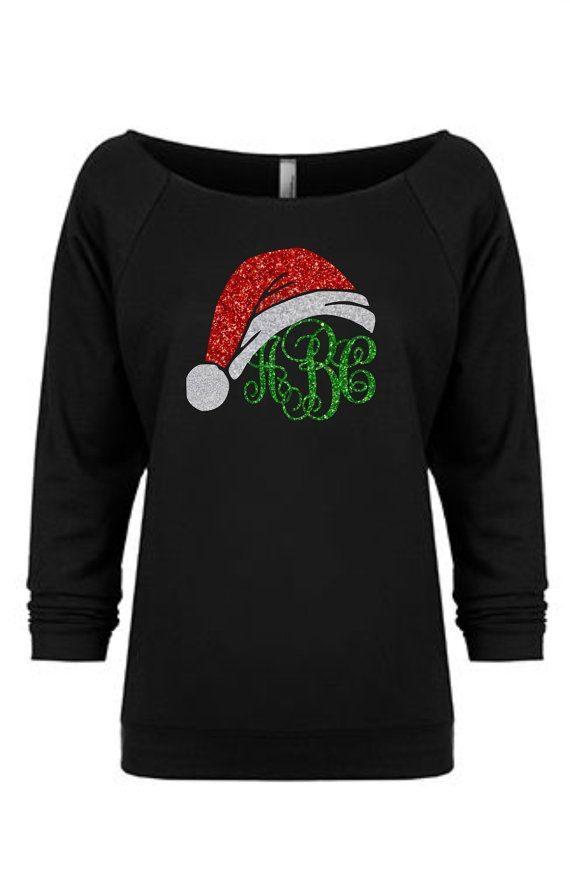 Christmas Sweater, Christmas Shirt, Women's Monogrammed gift Monogram sweatshirt, Personalized gift,   Off The Shoulder, Monogrammed tshirt,