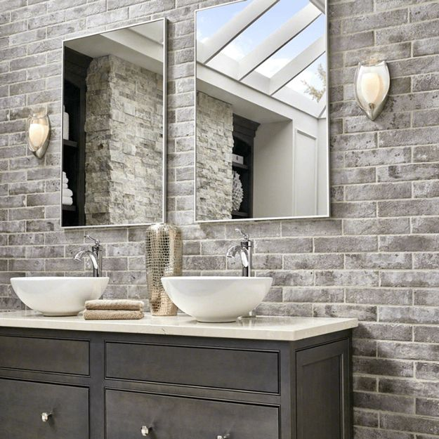 bathroom with taupe brick accent wall sherwin williams poised taupe - Bathroom Remodel Grey