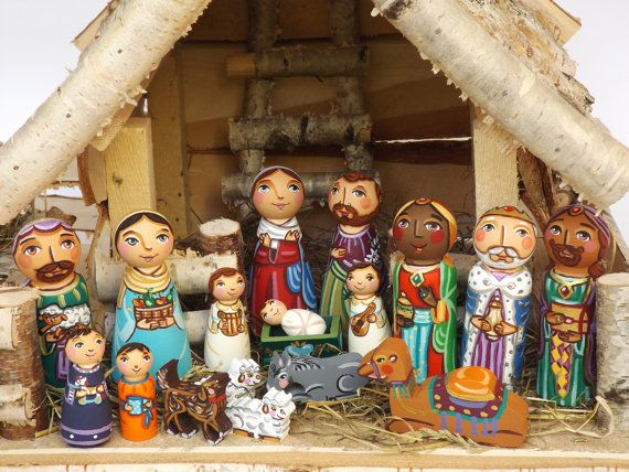 Peg doll nativity creche Christmas nativity set by UnderAngelWings