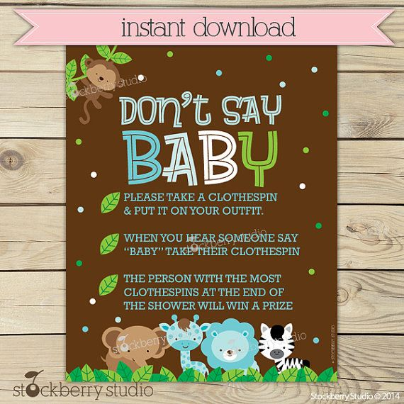 boy jungle baby shower donu0027t say sign boy by
