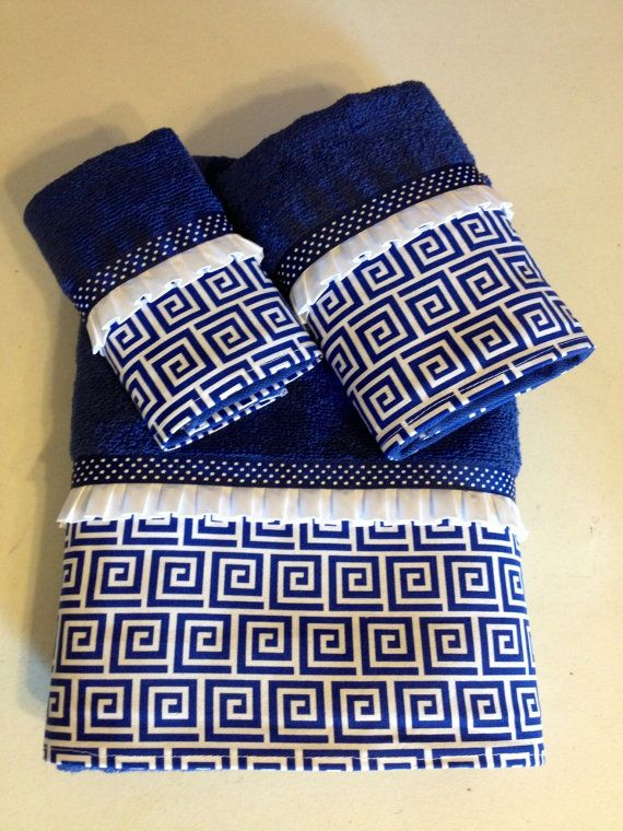 Royal Blue and White Greek Key and Polka Dot by LadyDiBlankets
