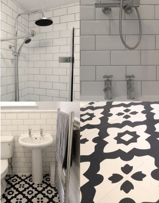 Lizu0027s Bathroom - before and after with white metro / subway tiles and grey  grouting,