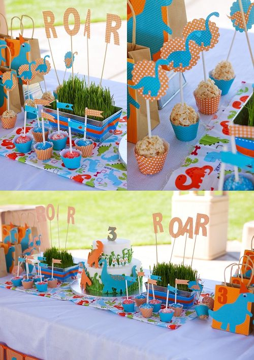 dinosaur party....oh my gosh! I love it!! Dinosaurs all the way! The perfect color combo!
