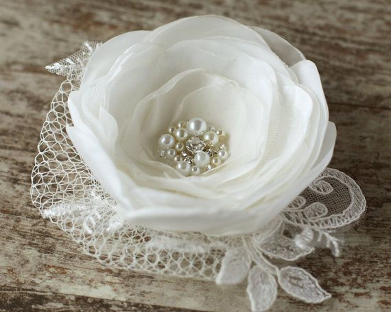 Items Similar To Ivory Wedding Hairpiece Flower Bridal Hair Accessories Pearls Fascinator Clip 3 Inch On Etsy
