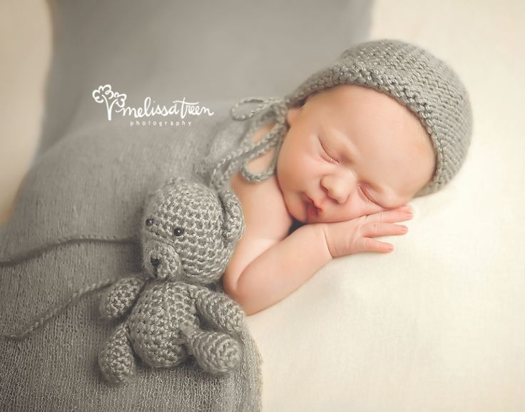 baby with teddy picture high point north carolina newborn photographer