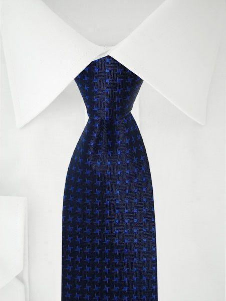 Donker Blauwe Stropdas Blauw Patroon