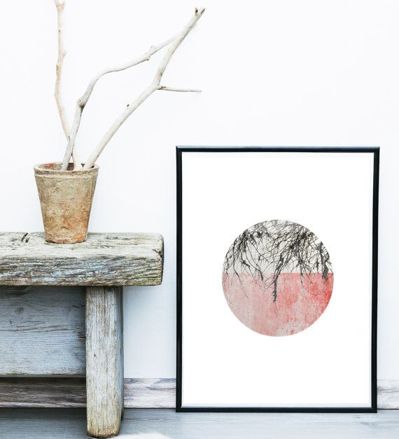 Price now on Etsy $8.50  Pink Abstract Art Scandinavian Modern Art Print by exileprinted