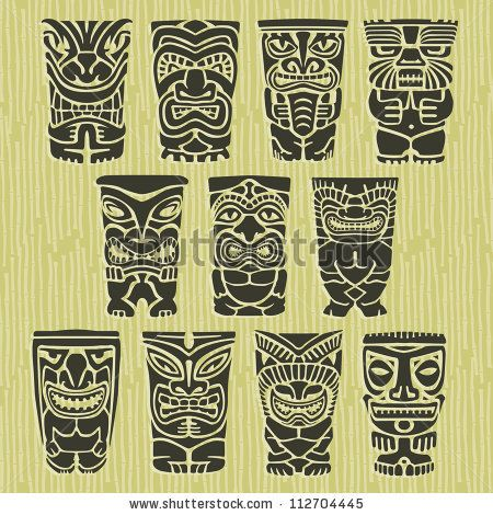 Vintage Carved Polynesian Tiki Totem Vector Idol Masks by ArtBitz, via Shutterstock
