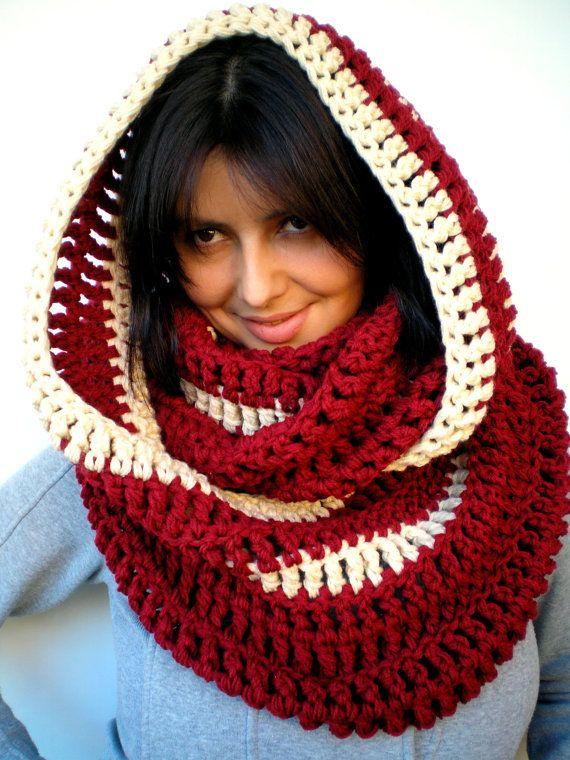 Bicolor Chunky Circle Scarf Hand Crocheted Circle by NonnaLia, $69.00