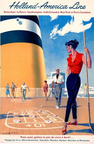 HAL reclame: Voor de beach volleyball, achtergrond schip in combinatie met recreatie.