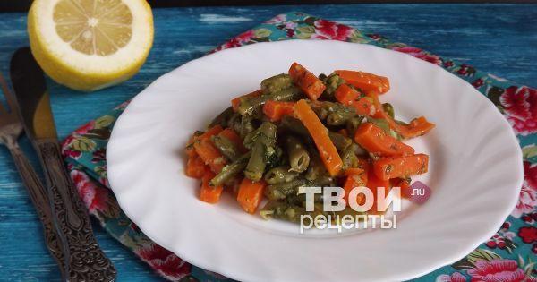 Фасолево-морковный салат с чесночной заправкой.