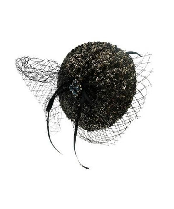 Sequin Pad With Net Bow Black Gold Fascinator
