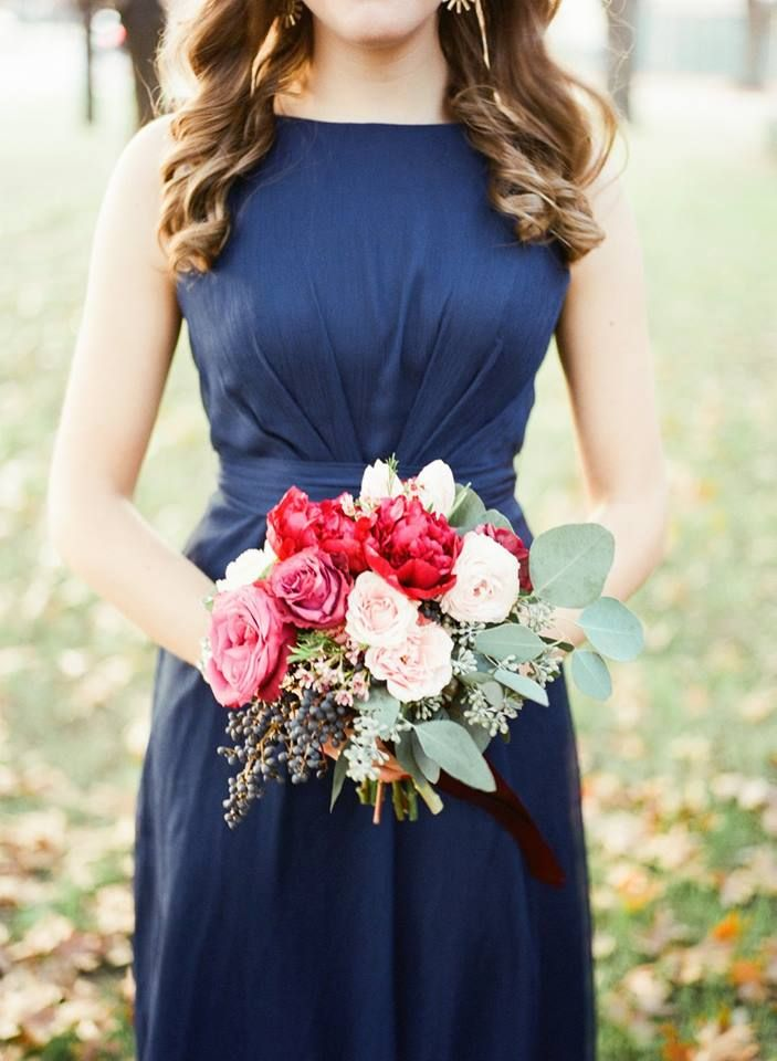 marsala and white wedding bouquet  wedding bouquet with greenery  red and white wedding bouquet  navy bridesmaid dress