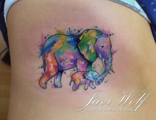 Pics For > Watercolor Elephant Tattoo