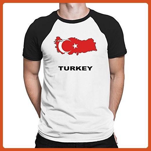 Teeburon Turkey Country Map Color Raglan T-Shirt - Cities countries flags shirts (*Partner-Link)