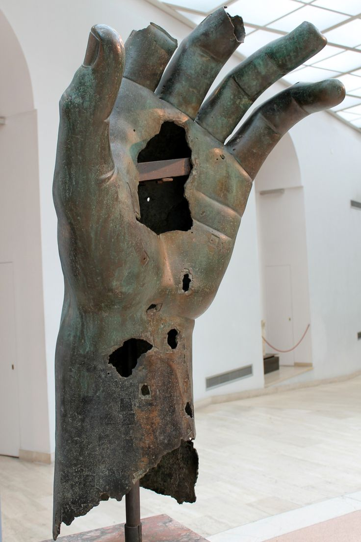 A fragment from a colossal bronze statue of Constantine. It was once gilded; a small trace remains on the back side. The hand alone is five feet tall.