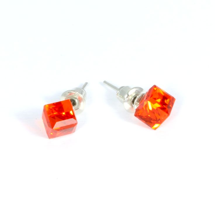 Crystal Cube Stud Earrings (Various colours)