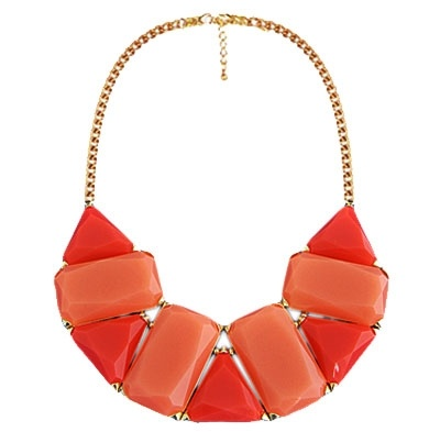 Geometric Gemstone Necklace in Coral