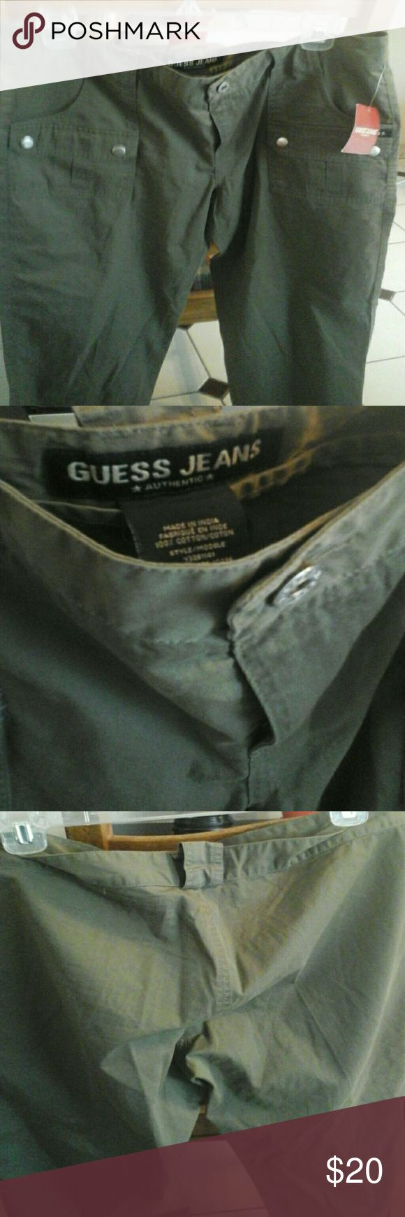 Guess Kaki Jeans NWT  size 31 Guess Kaki Jeans NWT  size 31, waist to hem measures  35,inseam is 27 Guess Jeans Ankle & Cropped