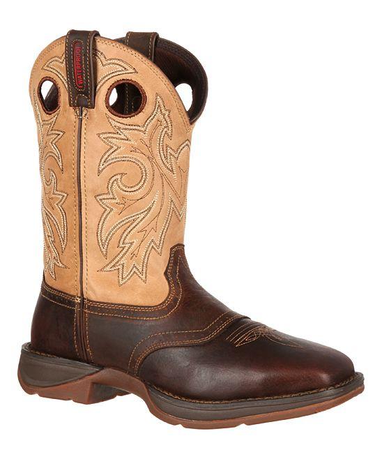 Brown & Tan Rebel by Durango Steel Toe Leather Cowboy Boot - Men