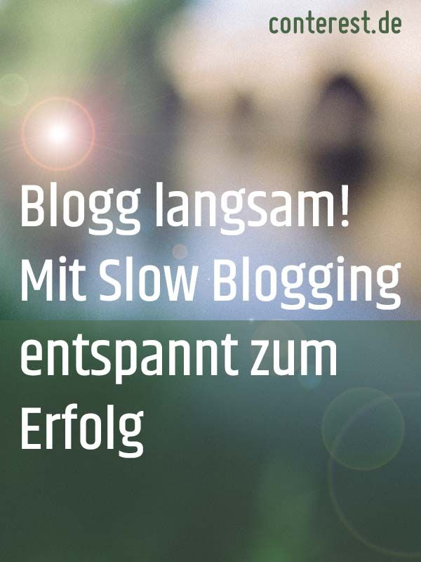 Blogg langsam! Mit Slow Blogging entspannt zum Erfolg  Das Gegenteil von Fastfood ist Slowfood. Genauso beim Bloggen. Sich Zeit zu nehmen, kann völlig andere Ergebnisse zum Vorschein bringen und für dich selbst ein intensiveres, befriedigendes Erlebnis sein . Denn jetzt tauchst du vollständig in dein Thema ein.