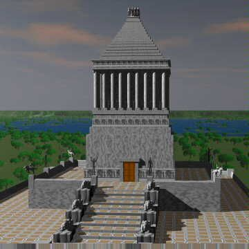 The Mausoleum of Maussollos, or Mausoleum of Halicarnassus was a tomb built between 353-350 BC at Halicarnassus (present Bodrum, Turkey), for Mausolus a provincial king in the Persian Empire, and Artemisia, his wife and sister. It was designed by the Greek architects Satyrus and Pythius.