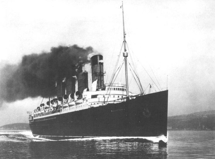 RMS MAURETANIA,Cunards second entry into the lucrative north atlantic passenger market. Like her sister, the Lusitania,she is also turbine driven,and holds  the speed record for many years.