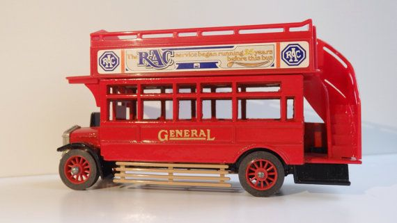 Get ready for the tour of London by open top bus 1920s ' ! Vintage Matchbox Model 1922 Omnibus open top Bus.Unused!