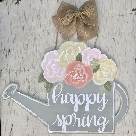 Watering Can Flowers Wood Door Hanger
