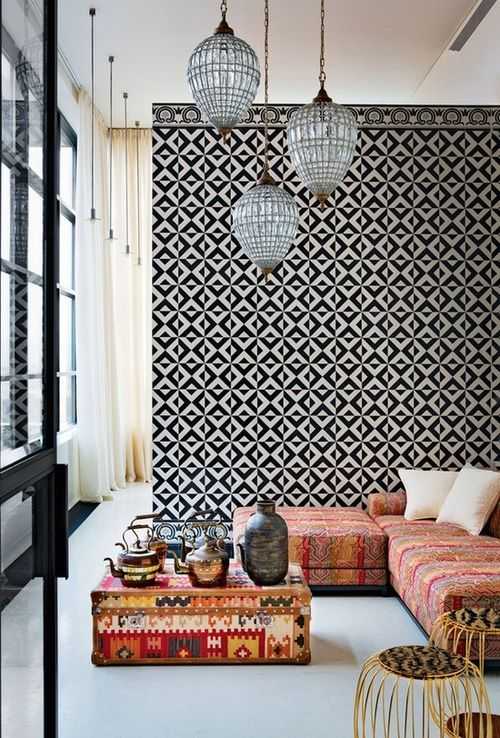 tiled wall and kilim covered furniture