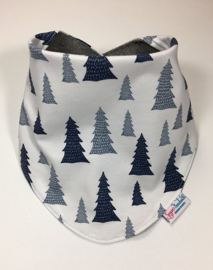 Bandana Bib Grey Blue Tree Print