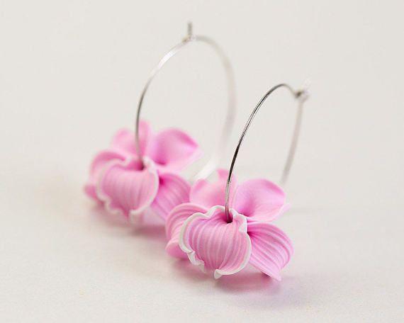 Pink Orchid Earrings Pink Flower Earrings Flower Hoop Earrings Polymer Clay Jewelry Flower In Hoops Earrings Pink Bridesmaid Pink Orchids Pink Flowers Flower Earrings