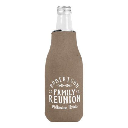 Modern Rustic Personalized Family Reunion Bottle Cooler - kids kid child gift idea diy personalize design