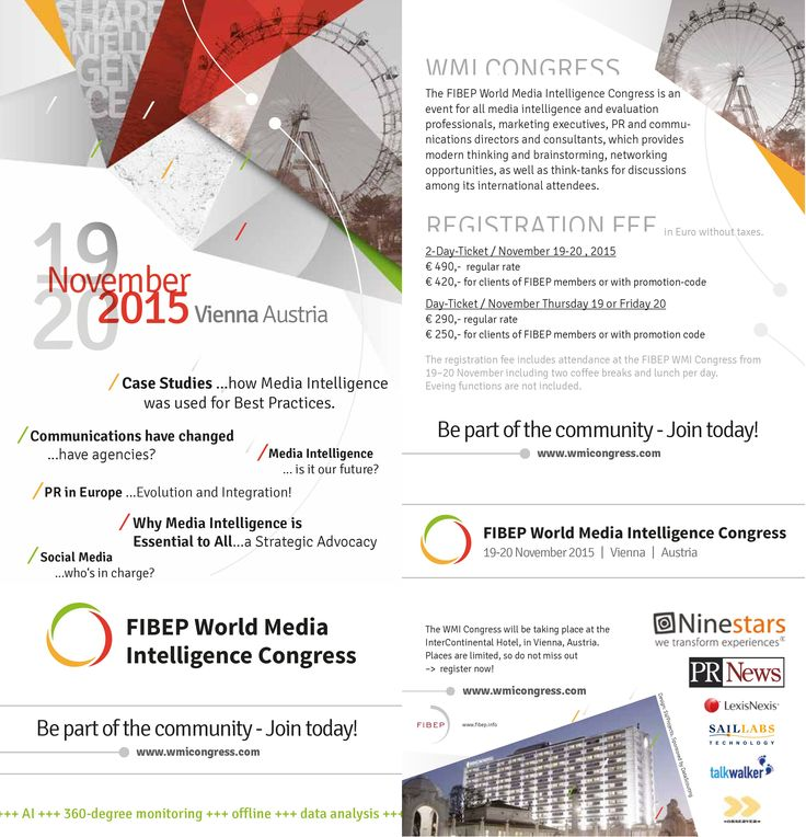 Opening the doors at the #_FIBEP #WMIC15 in #Vienna from 17-20 November, 2015