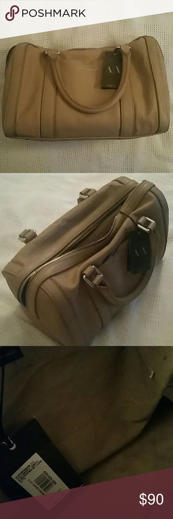Armani Exchange Purse Nude/natural color, medium size, purse. Used twice, 100% leather,  authentic with tags attached. Slight make up stain on inside lining but not too bad. Great purse to downsize and show off! A/X Armani Exchange Bags Satchels