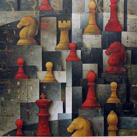 """Galleria scorrevole.                                           Sergio Cerchi, italian painter (Firenze), """"Chess 4"""""""
