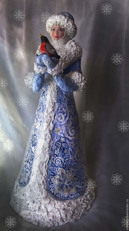 Купить Снегурочка папье- маше - голубой, Дед Мороз и Снегурочка, Папье-маше, сувениры и подарки