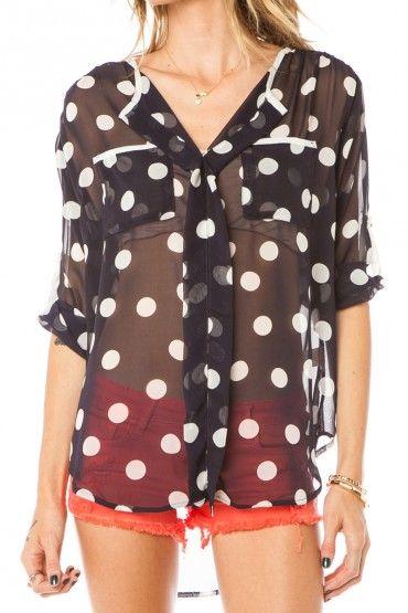 sheer polka dot blouse.
