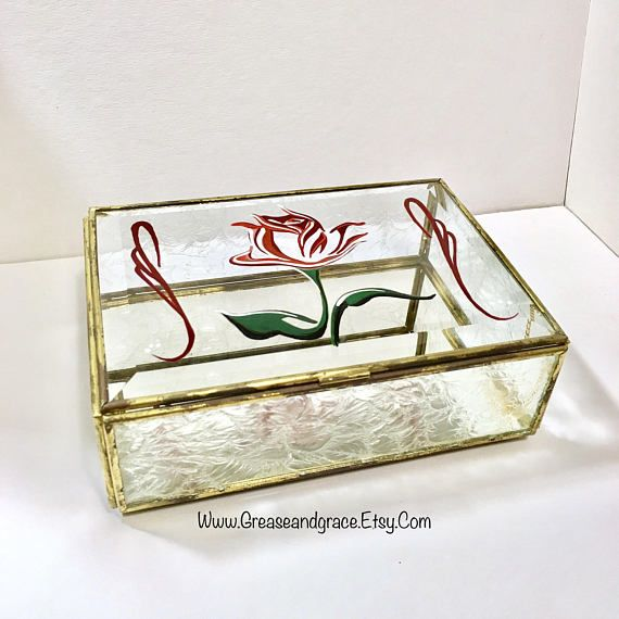 Rose Art Antique Leaded Glass Box with Frosted Glass and