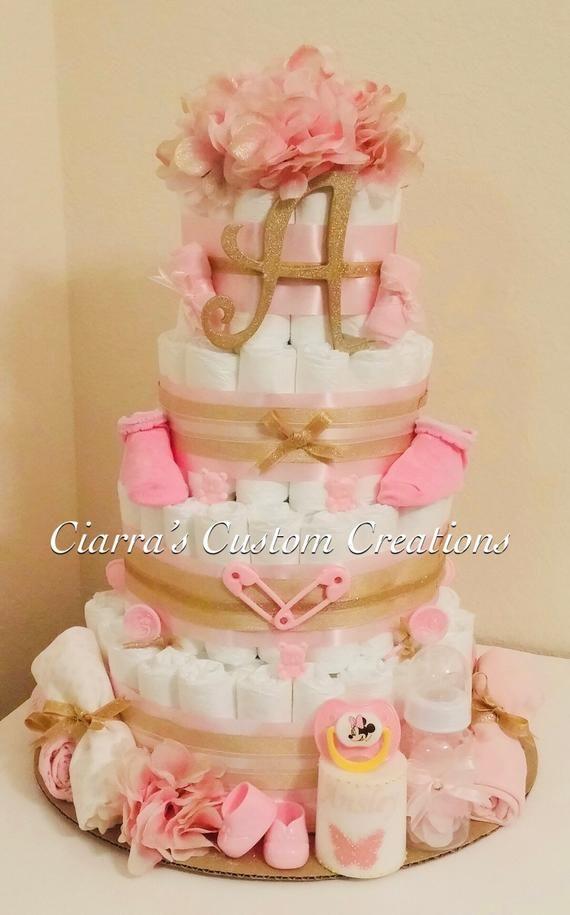 Pink Elephant Diaper Cake Baby Shower Crafts Baby Shower Diy