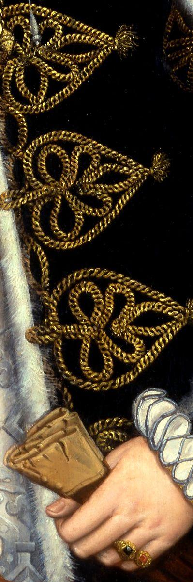 Steven van der Meulen - Portrait of a Woman, probably Catherine Carey, detail