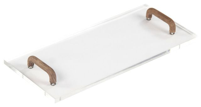 Wood-Handled Acrylic Serving Board transitional-serving-trays