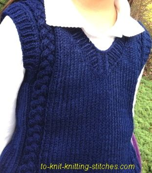Girl or boy cable vest.  Perfect vest to wear to school.  Knit it in blue or in other colors.  Free pattern!