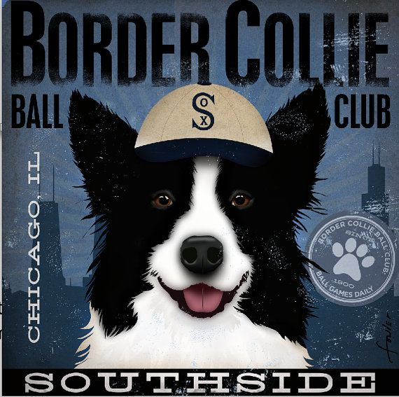 Border Collie Baseball original graphic artwork giclee archival signed print by stephen fowler