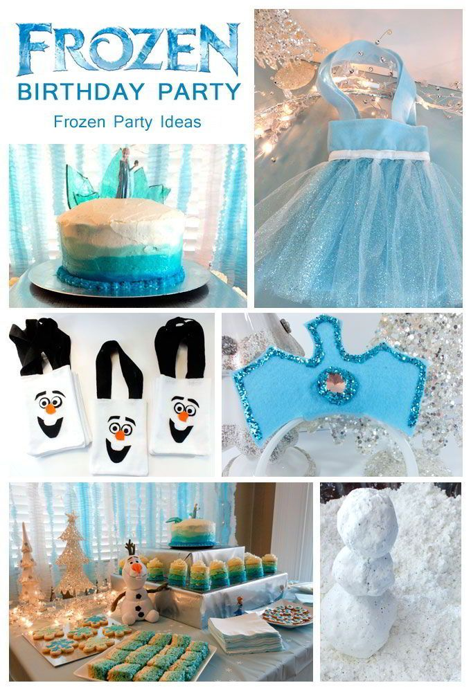 Disney Frozen Party Ideas - Olaf Party Bags, Frozen birthday cake, Elsa and Anna costumes!