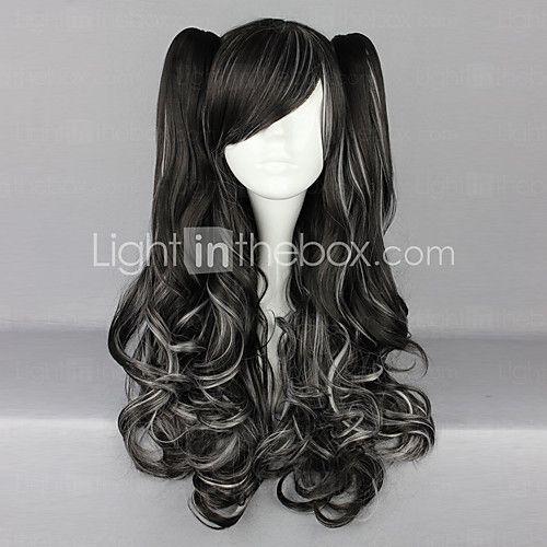 Noir et Blanc tresses bouclées Blended 70cm Gothic & Lolita punk perruque - CAD $55.59