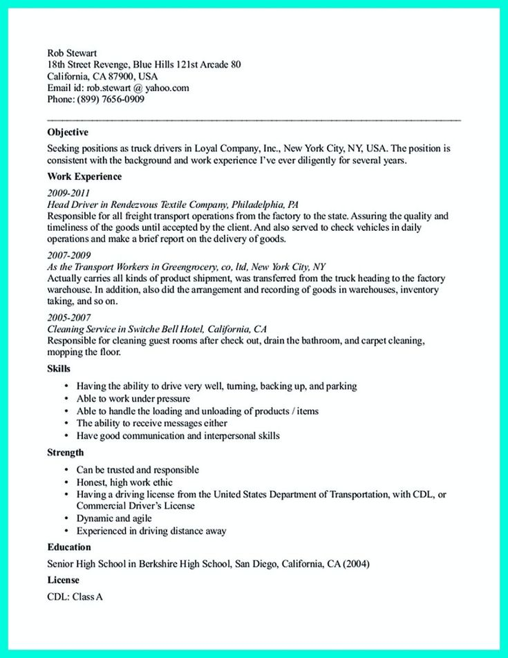 20 best Monday Resume images on Pinterest Administrative - truck driver resume