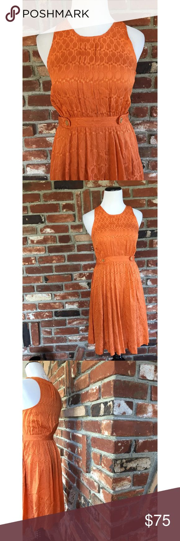 """Anthropologie Grand Slam Tennis Racket Dress 2 This is a gorgeous grand slam Orange tennis racket print dress made for Anthropologie size 2P. 100% silk. Dry clean. Side hidden zipper. Gold side waist buttons. Measured laying flat: 34""""/ waist 13""""/ hips 22""""/ dress length size 36.5."""" Gently used and in great condition. No visible flaws. 071917 Anthropologie Dresses Midi"""
