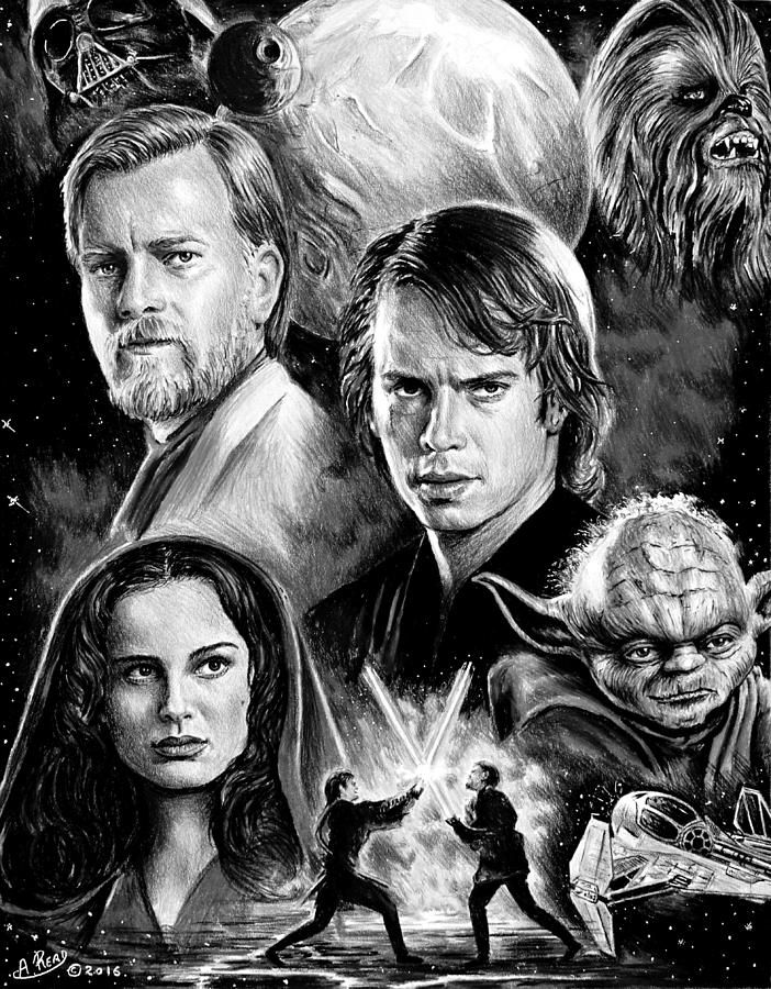 Revenge Of The Sith Bw By Andrew Read Star Wars Drawings Star Wars Images Star Wars Art
