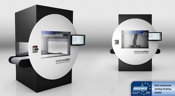 """motioncutter® - digital high-speed laser system. Gewinner des European Digital Press Award in der Kategorie """"Best Commercial Printing Finishing System 2014""""."""